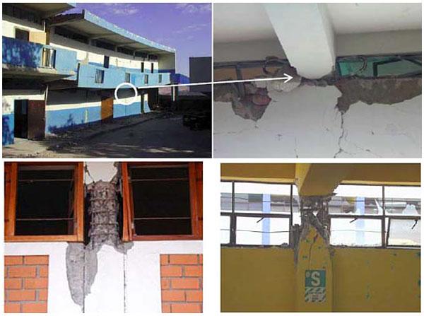 Colapso parcial y daños en escuelas por columnas cortas en Moquegua, Perú. Fotos: Escuela Politécnica Ejército Quito