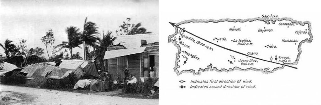 Daños del huracán San Ciriaco y su trayectoria - Imagen: Library of Congress
