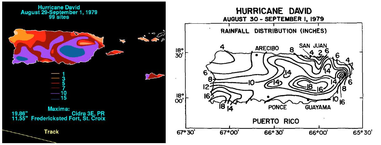 Distribución de lluvias del huracán David al sur de Puerto Rico