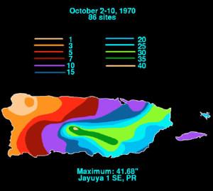 Distribución de lluvias durante el paso de la Depresión Tropical 15