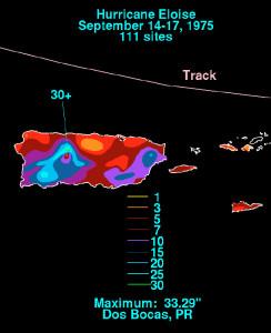 Distribución de lluvias durante el paso de la Tormenta Tropical Eloise