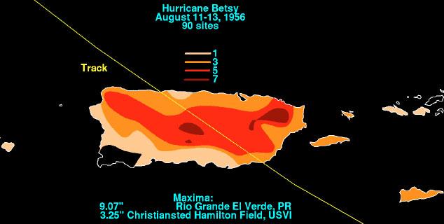 Distribución de lluvias durante el paso del Huracán Betsy