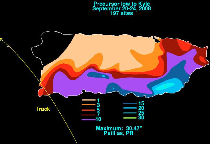 Distribución de lluvias durante el paso del disturbio Pre-Kyle