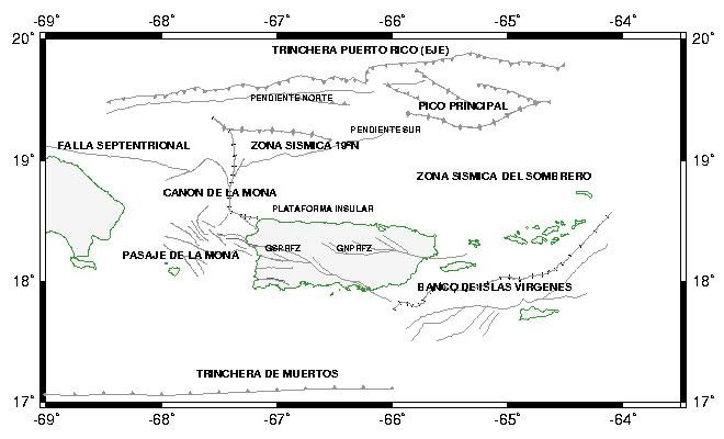 Fuentes de sismicidad a lo largo de la fallas geológicas sobre y alrededor de Puerto Rico y las Islas Vírgenes - Red Sísmica