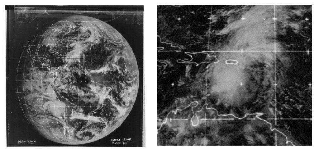 Imagen del satélite de la depresión tropical 15 del 1970 (NOAA)