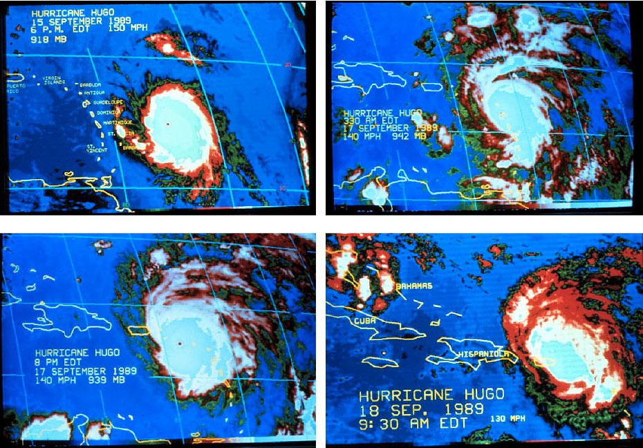 Secuencia de imágenes del satélite del progreso del Huracán Hugo