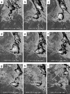 Secuencia de imágenes de satélite del evento de inundación entre el 5-6 de enero de 1992