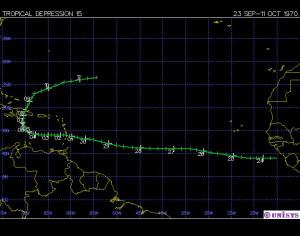 Trayectoria de la Depresión Tropical 15 al sur y oeste de Puerto Rico en la temporada de huracanes de 1970 (imagen de Unisys).