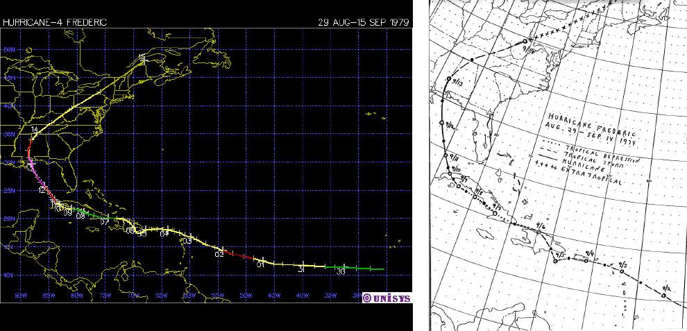 Trayectoria de la tormenta tropical Frederic-1979