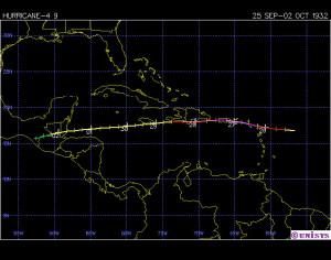 Trayectoria del huracán San Ciprián-1932