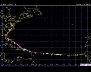 Trayectoria del huracán San Felipe II-1928