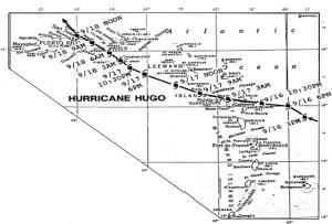 Trayectoria especifica del huracán Hugo