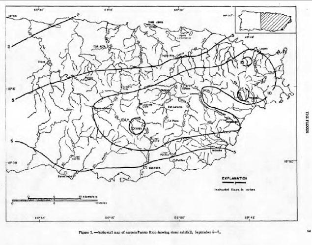 Distribución de lluvias durante el paso del Huracán Donna