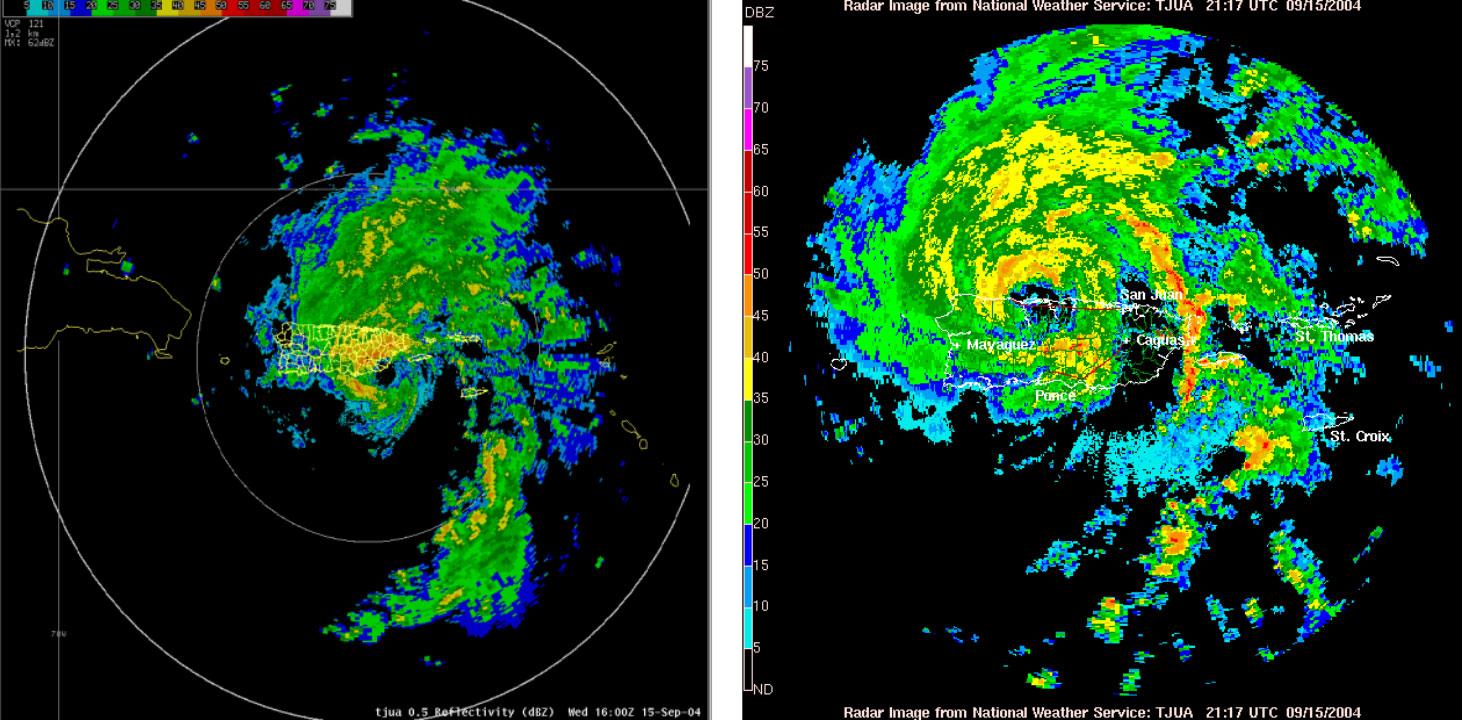 Imágenes de satélite y radar de la tormenta tropical Jeanne