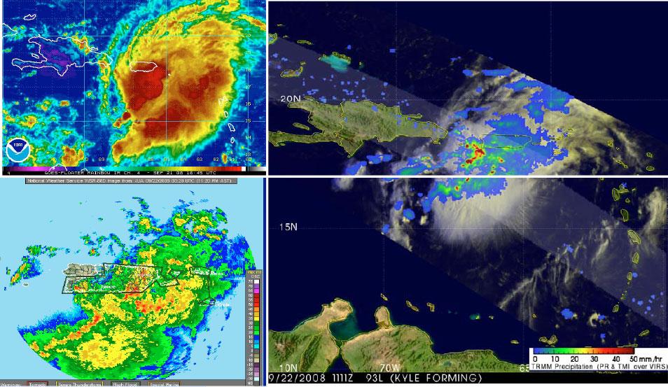 Imágenes de satélite y radar del disturbio precursor al huracán Kyle mientras se desplazaba lentamente a través de Puerto Rico