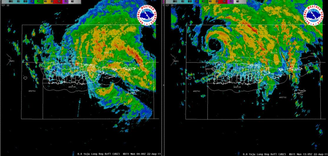 Imágenes de satélite y radar del huracán Irene