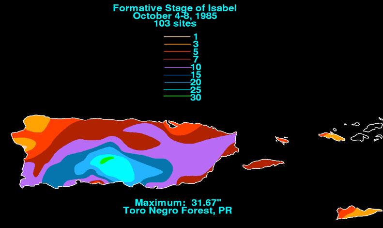 Totales de lluvia para Puerto Rico durante el paso de una onda tropical