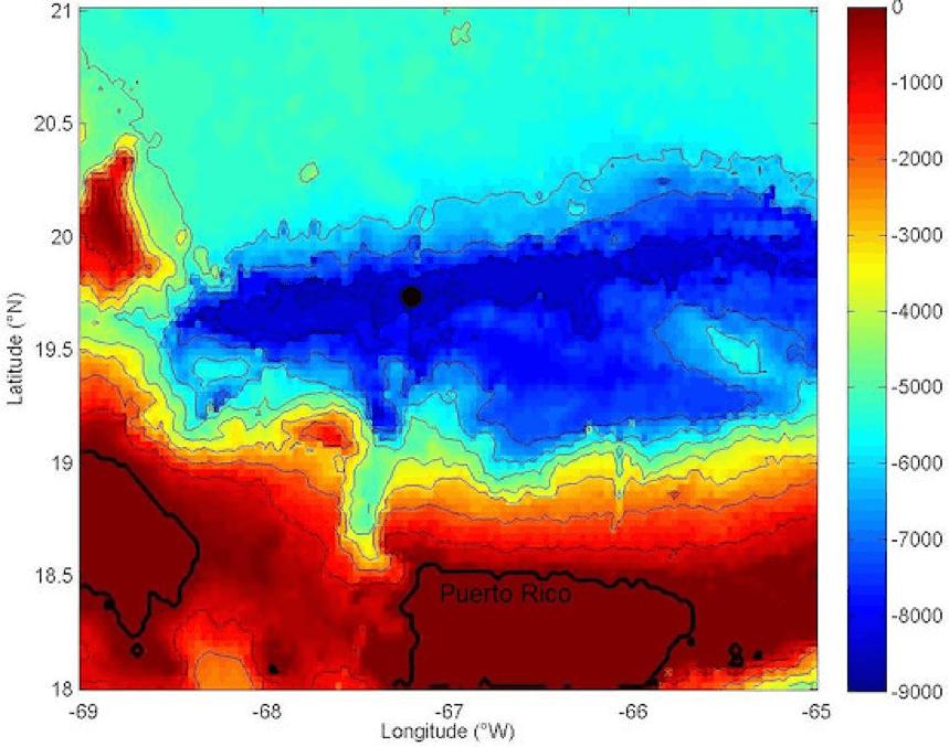Punto más profundo Puerto Rico al Noroeste
