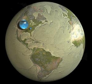 Ilustración del volumen del agua frente al dela tierra